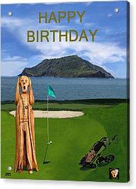 The Scream World Tour Golf  Happy Birthday Acrylic Print by Eric Kempson