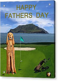 The Scream World Tour Golf  Happy Fathers Day Acrylic Print by Eric Kempson