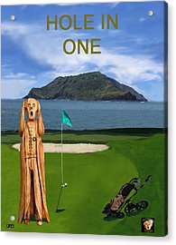 The Scream World Tour Golf  Hole In One Acrylic Print by Eric Kempson