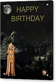 The Scream World Tour Mount Rushmore Happy Birthday Acrylic Print by Eric Kempson