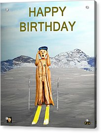The Scream World Tour Skiing Happy Birthday Acrylic Print by Eric Kempson