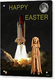 The Scream World Tour Space Shuttle Happy Easter Acrylic Print by Eric Kempson