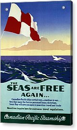 The Seas Are Free Again.. - Canadian Pacific Steamships - Retro Travel Poster - Vintage Poster Acrylic Print