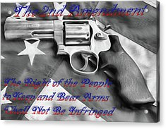 Acrylic Print featuring the digital art The Second Amendment Black And White by JC Findley