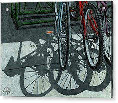 The Secret Meeting - Bicycle Shadows Acrylic Print by Linda Apple