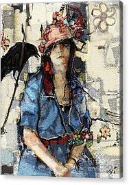 Acrylic Print featuring the mixed media The Seer by Carrie Joy Byrnes