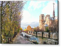 The Seine And Quay Beside Notre Dame, Autumn Acrylic Print
