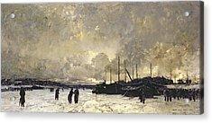 The Seine In December Acrylic Print by Luigi Loir