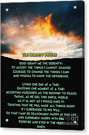 The Serenity Prayer Acrylic Print by Celestial Images