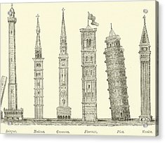 The Seven Great Towers Acrylic Print by English School