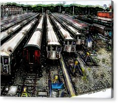 Acrylic Print featuring the photograph The Seven Train Yard Queens Ny by Iowan Stone-Flowers
