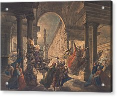 The Shadows Of The Great Florentine Men Protesting Against The Foreign Rule Acrylic Print by Eugenio Agneni