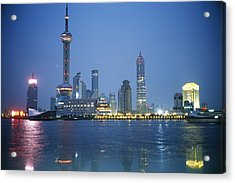The Shanghai Skyline And Riverfront Acrylic Print by Raul Touzon