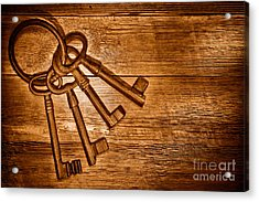 The Sheriff Jail Keys - Sepia Acrylic Print by Olivier Le Queinec