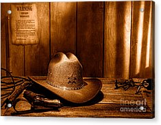 The Sheriff Office - Sepia Acrylic Print by Olivier Le Queinec