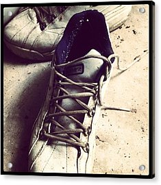 The Shoes He Left Behind Acrylic Print by Dana Coplin