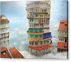The Shop Towers Acrylic Print by Andrew Kow