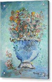The Silver Bowl Vase Acrylic Print by Edward Wolverton