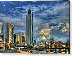 The Skyscraper And Low Clouds Dance Acrylic Print by Ron Shoshani