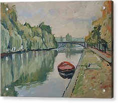 The Small Boat Along The Quai Of Halage Vise Acrylic Print