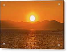 The Smoke From A Forest Fire Gave Us This Tangerine Sky Over 11-mile Reservoir State Park, Colorado. Acrylic Print