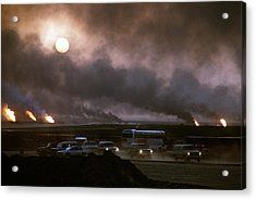 The Smoke From Oil Well Fires Forces Acrylic Print by Everett