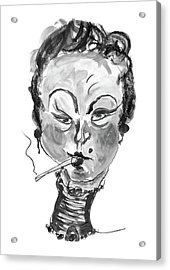 Acrylic Print featuring the mixed media The Smoker - Black And White by Marian Voicu