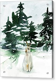 Acrylic Print featuring the painting The Snow Bunny by Colleen Taylor