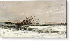 The Snow Acrylic Print by Charles Francois Daubigny