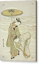 The Snow Clogged Geta Acrylic Print by Suzuki Harunobu