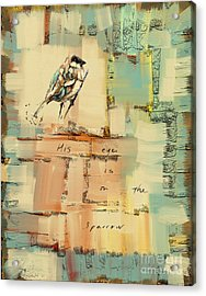 Acrylic Print featuring the mixed media The Sparrow by Carrie Joy Byrnes