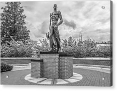The Spartan Statue Black And White  Acrylic Print