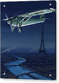 The Spirit Of St Louis Flying Over Paris Acrylic Print by English School