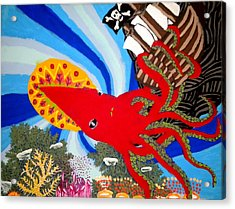 The Squid And The Pirate Ship Acrylic Print by Nick Reaves