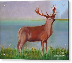 Acrylic Print featuring the painting The Stag by Rod Jellison