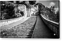The Stairs - Paola, Italy - Black And White Street Photography Acrylic Print by Giuseppe Milo