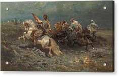 The Stampede Acrylic Print by Adolf Schreyer