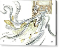 The Steadfast Tin Soldier - In Paper Boat, Pursued By Angry Rat, Hungry Fish - Illustration Acrylic Print