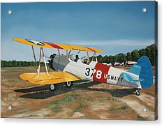 The Stearman Acrylic Print by Kenneth Young