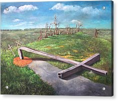 Acrylic Print featuring the painting Millsfield Tennessee Steel Cross by Randol Burns
