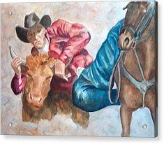 The Steer Wrestler Acrylic Print