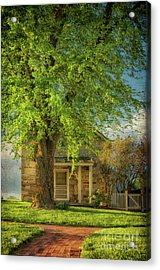 The Stone Cottage On A Spring Evening Acrylic Print by Lois Bryan