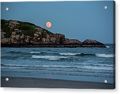 The Strawberry Moon Rising Over Good Harbor Beach Gloucester Ma Island Acrylic Print