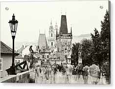 Acrylic Print featuring the photograph The Stream Of People On Charles Bridge. Prague by Jenny Rainbow