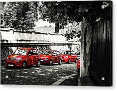 Acrylic Print featuring the photograph The Street Of Red Cars by Jenny Rainbow