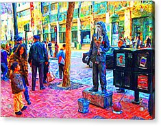 The Street Performer . Photo Artwork Acrylic Print by Wingsdomain Art and Photography