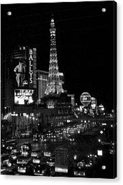 The Strip By Night B-w Acrylic Print