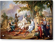 The Sultana Served By Her Eunuchs Acrylic Print by Charles Amedee Philippe van Loo