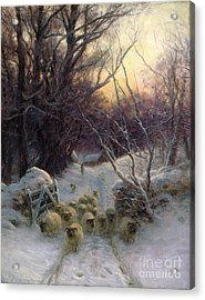 The Sun Had Closed The Winter Day Acrylic Print by Joseph Farquharson