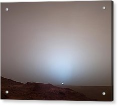 The Sun Setting Below The Rim Of Gusev Acrylic Print by Nasa